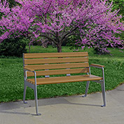 Jayhawk Plastics Recycled Plastic 4 ft. Plaza Bench - Silver Frame with Cedar Slats