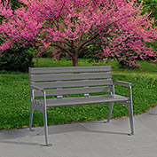 Jayhawk Plastics Recycled Plastic 4 ft. Plaza Bench - Silver Frame with Gray Slats