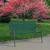Jayhawk Plastics Recycled Plastic 4 ft. Plaza Bench - Silver Frame with Green Slats