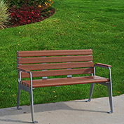 Jayhawk Plastics Recycled Plastic 4 ft. Plaza Bench - Silver Frame with Redwood Slats