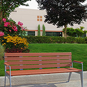 Jayhawk Plastics Recycled Plastic 6 ft. Plaza Bench - Silver Frame with Redwood Slats
