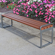Jayhawk Plastics Recycled Plastic 6 ft. Plaza Backless Bench - Silver Frame with Redwood Slats