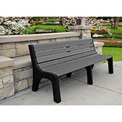 Jayhawk Recycled Plastic 8 ft. Bench with Back - Newport Series - Gray
