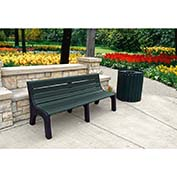 Jayhawk Recycled Plastic 8 ft. Bench with Back - Newport Series - Green