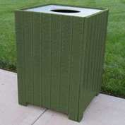 Standard Square Receptacle, Recycled Plastic, 32 Gal., Green