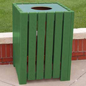 Heavy Duty Square Receptacle, Recycled Plastic, 32 Gal., Green
