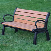 Heritage Bench, Recycled Plastic, 4 ft, Black Frame, Cedar
