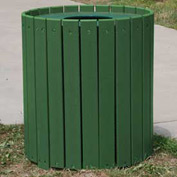 Standard Round Receptacle, Recycled Plastic, 55 Gal., Green
