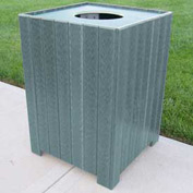 Standard Square Receptacle, Recycled Plastic, 55 Gal., Gray