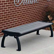 Heritage Backless Bench, Recycled Plastic, 5 ft, Black Frame, Gray