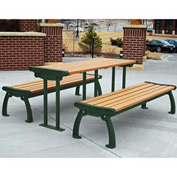 Heritage Table, Recycled Plastic, 6 ft, Green Frame, Cedar