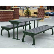 Heritage Table, Recycled Plastic, 6 ft, Green Frame, Gray