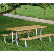 Galvanized Frame Picnic Table, Recycled Plastic, 8 ft, Cedar