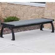 Heritage Backless Bench, Recycled Plastic, 8 ft, Black Frame, Gray