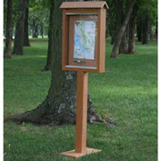 "Jayhawk Plastics Small Message Center, Recycled Plastic, One Side, One Posts, Cedar, 26""W x 20""H"