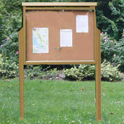 "Jayhawk Plastics Large Message Center, Recycled Plastic, Two Sides, Two Posts, Cedar, 51""W x 36""H"