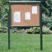 "Jayhawk Plastics Large Message Center, Recycled Plastic, Two Sides, Two Posts, Green, 51""W x 36""H"