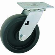 "Jacob Holtz Heavy Duty Swivel Caster 5"" Polypropylene Wheel, Delrin Bearing, Black"