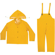 Enguard 3-Piece Rainsuit, 35 mil PVC/Polyester, Snap Closure, Yellow, 2XL
