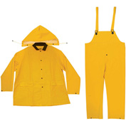 Enguard 3-Piece Heavy Duty Rainsuit, 35 mil PVC/Polyester, Snap Closure, Yellow, M