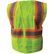 Enguard Class 2 Safety Vest with Zipper Closure, 6 Pockets, Polyester Mesh, Lime, 2XL