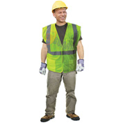 Enguard Class 2 Flame Retardant Safety Vest Touch Fastener Closure 5 PKTS Polyester Mesh Lime XL