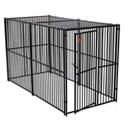 "Lucky Dog European Style Modular Dog Kennel With Predator Top 72""H x 60""W x 120""L, Black"