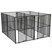 "Lucky Dog European Style Modular Dog Kennel 2 Run With Common Wall 72""H x 60""W x 120""L, Black"