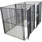 "Lucky Dog European Style Modular Dog Kennel 2 Run With Common Wall 72""H x 60""W x 60""L, Black"