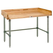 "John Boos DNB10  84""W x 30""D Maple Top Table with Galvanized Legs and Bracing"