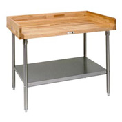 "John Boos DSS14  96""W x 36""D Maple Top Table with Stainless Steel Legs and Shelf"