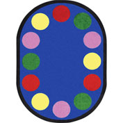 "Joy Carpets Lots of Dots™ Classroom Carpets 7'8"" x 10'9""Oval, Primary - 1430DD-01"