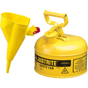 Justrite® Type I Steel Safety Can With Funnel, 1 Gallon (4L), Self-Close Lid, Yellow, 7110210