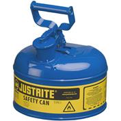 Justrite® Type I Steel Safety Can, 1 Gallon (4L), Self-Close Lid, Blue, 7110300