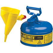 Justrite® Type I Steel Safety Can With Funnel, 1 Gallon (4L), Self-Close Lid, Blue, 7110310