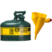 Justrite® Type I Steel Safety Can With Funnel, 1 Gallon (4L), Self-Close Lid, Green, 7110410
