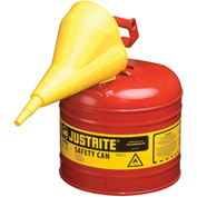 Justrite® Type I Steel Safety Can With Funnel, 2 Gallon (7.5L), Self-Close Lid, Red, 7120110