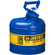 Justrite® Type I Steel Safety Can, 2 Gallon (7.5L), Self-Close Lid, Blue, 7120300