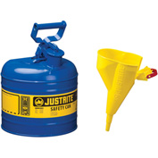 Justrite® Type I Steel Safety Can With Funnel, 2 Gallon (7.5L), Self-Close Lid, Blue, 7120310