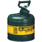 Justrite® Safety Can Type I - 2 Gallon Galvanized Steel, Green, Self-Close Lid, 7120400