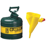 Justrite® Safety Can Type I - 2 Gallon Galvanized Steel, With Funnel, Self-Close Lid, 7120410
