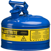 Justrite® Type I Steel Safety Can, 2.5 Gallon (9.5L), Self-Close Lid, Blue, 7125300