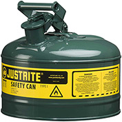 Justrite® Type I Steel Safety Can, 2.5 Gallon (9.5L), Self-Close Lid, Green, 7125400