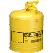 Justrite® Type I Steel Safety Can, 5 Gallon (19L), Self-Close Lid, Yellow, 7150200