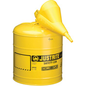 Justrite® Type I Steel Safety Can With Funnel, 5 Gallon (19L), Self-Close Lid, Yellow, 7150210