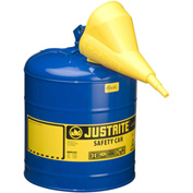 Justrite® Type I Steel Safety Can With Funnel, 5 Gallon (19L), Self-Close Lid, Blue, 7150310