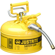 "Justrite® Type II AccuFlow™ Steel Safety Can, 1 Gal., 5/8"" Metal Hose, Yellow, 7210220"