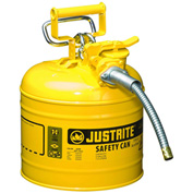 "Justrite® Type II AccuFlow™ Steel Safety Can, 2 Gal., 5/8"" Metal Hose, Yellow, 7220220"