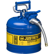 "Justrite® Type II AccuFlow™ Steel Safety Can, 2 Gal., 5/8"" Metal Hose, Blue, 7220320"