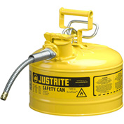 "Justrite® Type II AccuFlow™ Steel Safety Can, 2.5 Gal., 5/8"" Metal Hose, Yellow, 7225220"